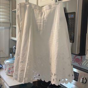 NWT Loft White Spring midi Skirt
